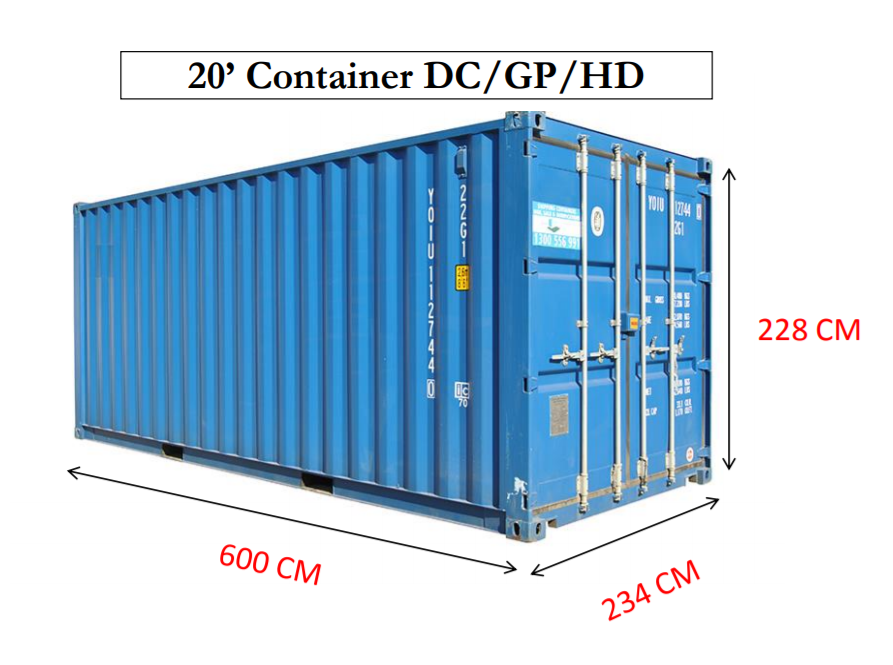 iso 20 ft container internal dimensions